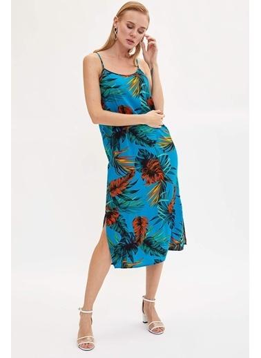 DeFacto Desenli Aksılı Dokuma Elbise Mavi